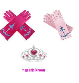 Prinsessen handschoenen - 2 Pack + Gratis Kroon