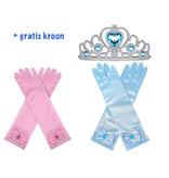 Prinsessen handschoenen - 2 Pack + Gratis Kroon - one size