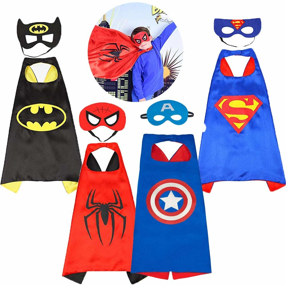 Superheld blauwe cape + masker  - verkleedpak - one size