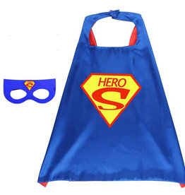 Superheld/Superman Hero blauwe cape + masker