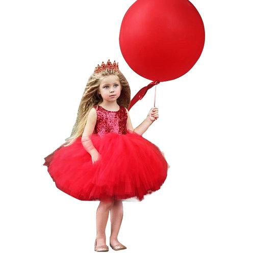 Prinsessenjurk - rode feestjurk maat 80/86, 92/98, 98/104