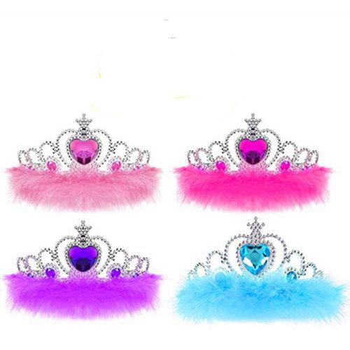 Prinsessen kroon paars, roze, fuchsia, blauw - met veren