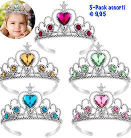 Prinsessen kroontjes assorti - 5 stuks
