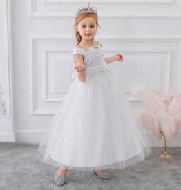 Prinsessenjurk - lange witte feestjurk - communiejurk