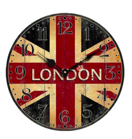 Wandklok hout London / Londen - 30 cm - Wandklok Woonkamer - Wandklok Keuken - Wandklok Kantoor - Moderne Klok - Wereldsteden Wandklok