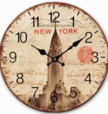 Wandklok hout New York Chrysler Building 30 cm - Wandklok Woonkamer - Wandklok Keuken - Wandklok Kantoor - Moderne Klok - Wereldsteden Wandklok