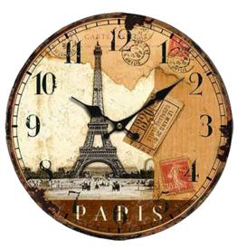 Wandklok hout Paris / Parijs - 30 cm - Wandklok Woonkamer - Wandklok Keuken - Wandklok Kantoor - Moderne Klok - Wereldsteden Wandklok