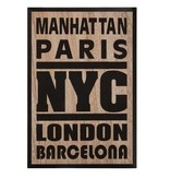 Atmosphera Créateur d'intérieur® Zwart Wandbord - Tekstbord - Muurdecoratie - Wanddecoratie - 38x58 cm - New York, Barcelona, London - MDF