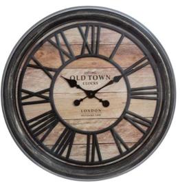 Atmosphera Créateur d'intérieur® Wandklok bruin - diameter 50,6 cm - Woonkamer Klok Industrieel - Landelijke wandklok - Keukenklok - Vintage Klok -