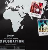 Atmosphera Créateur d'intérieur® Memobord Koloniale wereld - Zwart - MDF - Wandbord Wereldsteden - 78 x 1,5, x 48 cm
