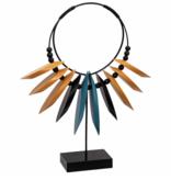Atmosphera Créateur d'intérieur® Jungle etnische ketting - Houten Ketting Op Standaard - 35 cm - Ornament - Woondecoratie - MDF