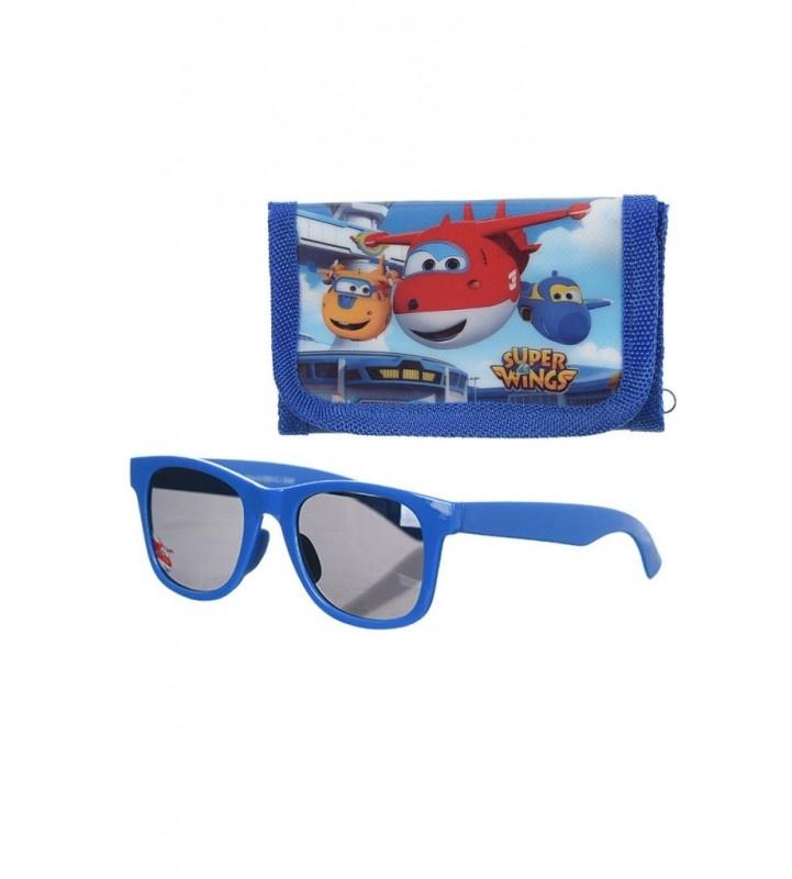 Disney  Superwings blauwe overslag portemonnee + zonnebril / giftset
