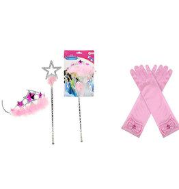 Prinsessen roze Tiara + Toverstaf  + elleboog handschoenen
