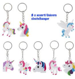 Unicorn 8 x sleutelhanger