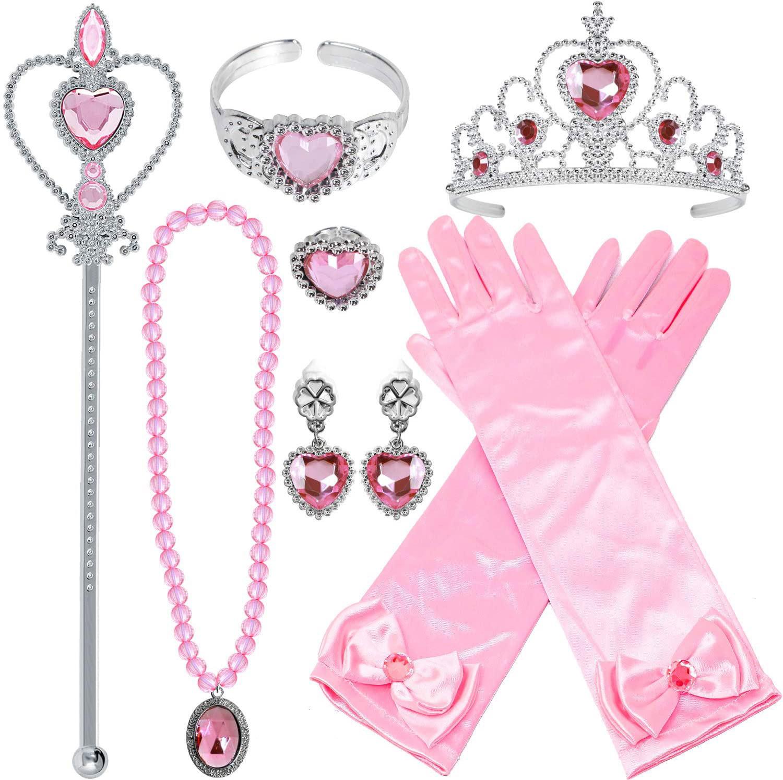 Prinsessen roze accessoireset - juwelen, toverstaf, kroon, elleboog handschoenen
