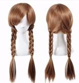 Frozen 2 Anna Pruik met lange vlechtjes en elastisch haarnetje