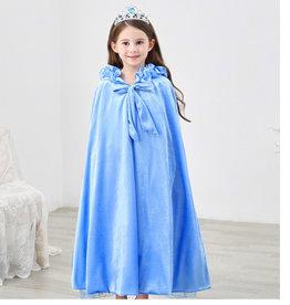 Het Betere Merk Blauwe  lange prinsessen cape met vaste capuchon