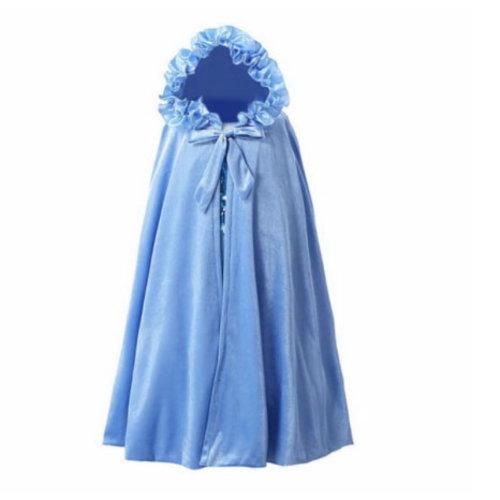 Het Betere Merk Blauwe  prinsessen cape met vaste capuchon + Gratis tiara - Frozen  - maat M, L