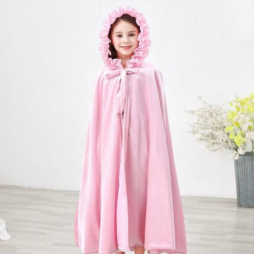 Het Betere Merk Roze prinsessen cape met vaste capuchon + Gratis tiara  - maat M, L