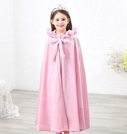 Het Betere Merk Roze lange prinsessen cape met vaste capuchon