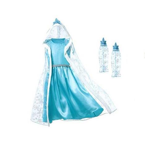 Het Betere Merk Frozen Elsa verkleedjurk Luxe losse cape + mouwen 98/104, 110, 116/122, 128/134