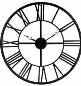 Atmosphera Créateur d'intérieur® Wandklok Metaal Zwart 36.5cm diameter- Woonkamer Klok Industrieel - Landelijke wandklok - Keukenklok - Vintage Klok Romeinse Cijfers