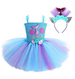 Het Betere Merk Unicorn jurk - Eenhoorn jurk - Prinsessen Verkleedkleding | Blauw + GRATIS haarband