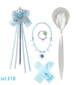 Elsa accessoires - Toverstaf - Ketting - Haarvlecht  - Armband - Handschoenen - Verkleedaccessoires