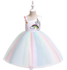 Het Betere Merk Unicorn Jurk - Eenhoorn Jurk - Verkleedkleding Kind - Prinsessen Jurk | Geel