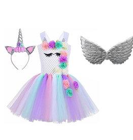 Het Betere Merk Unicorn Jurk - Eenhoorn Jurk - Gratis Haarband, Vleugels -  12 Roosjes - Verkleedkleding Kind