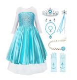 Het Betere Merk Elsa Jurk - Prinsessenjurk Meisje - Frozen Jurk - Prinsessen verkleedkleding + 10-delig accessoireset | Blauw 92/98, 98/104, 110, 116/122, 128/134