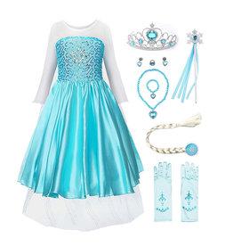 Het Betere Merk Elsa Jurk - Prinsessenjurk Meisje - Frozen Jurk - Prinsessen verkleedkleding + 10-delig accessoireset | Blauw