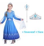 Frozen 2 Elsa blauwe jurk  + gratis toverstaf / tiara  98, 104/110, 116, 122/128, 134/140, 146/152