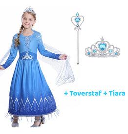 Frozen 2 Elsa blauwe jurk  + gratis toverstaf / tiara