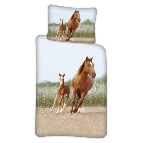 Paarden dekbedovertrek ledikant 100x140 cm