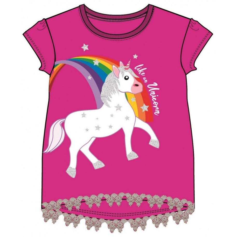Unicorn Fuchsia - Donkerroze Shirt  3-4-5-6-7-8 jaar - maat 98, 104, 110, 116, 122, 128 +  gratis Unicorn Armband
