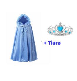 Het Betere Merk Blauwe prinsessen cape + Gratis tiara