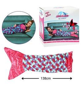 Toi-Toys Mermaid fleece-deken meisjes 138 x 52 cm roze/paars + Gratis Tas
