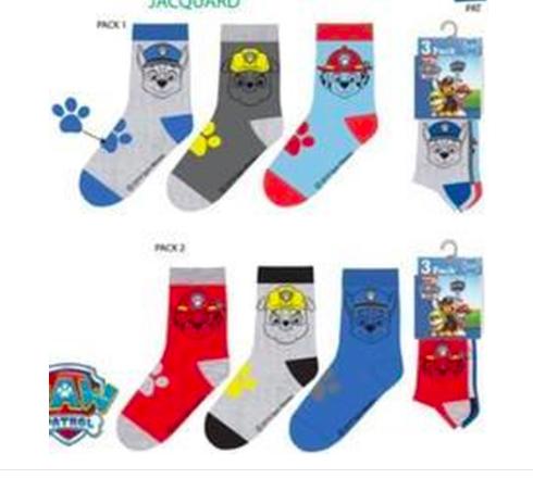 Paw Patrol 6 paar sokken mt 23/26, 27/30, 31/34 + gratis LED muursticker