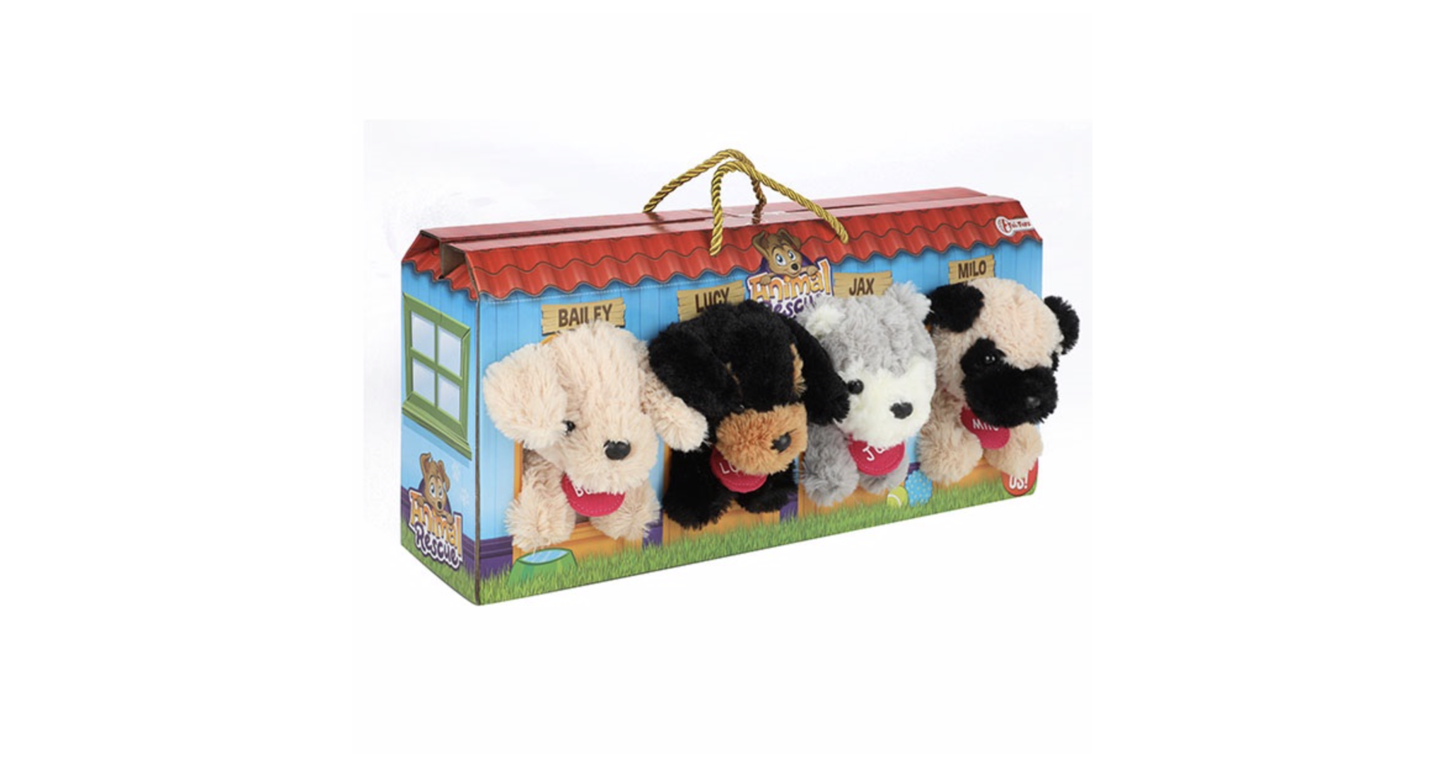Toi-Toys Toi-Toys Pluchen Hondjes in Hondenhok Koffer 4 Stuks