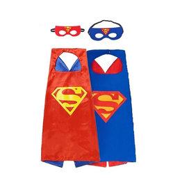 Superhelden Verkleedpak - 2 Pack - Superman Rode / Blauwe cape + masker - One Size - maat 98 /128 - 3/9 jaar