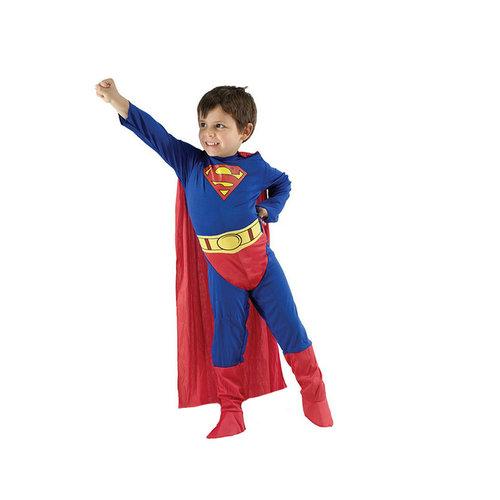 Superman verkleedpak jumpsuit 4/6 (M), 7/10 (L), 11/14 jaar(XL)