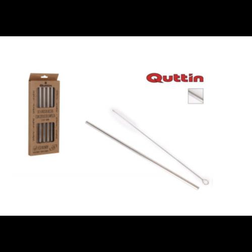 Quttin  Quttin RVS herbruikbare rietjes met schoonmaakborstel - 4 stuks