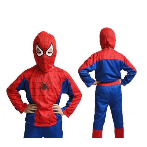 Spinnenheld/Spiderman verkleedpak + Spiderman Cape / Masker 4/6, 7/10, 11/14 jaar