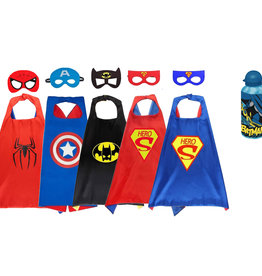 Superhelden Verkleedpak - 6 Pack - Superman/ Batman/Spiderman cape + masker + gratis Batman of Superman bidon