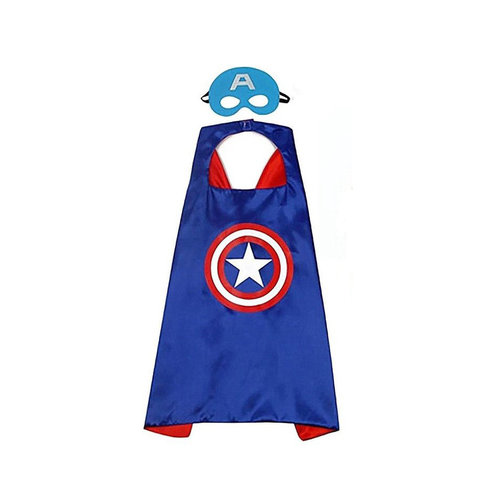 Superhelden Verkleedpak - 3 Pack - Superman, Captain America cape + masker - One Size - maat 98 /128 - 3/9 jaar