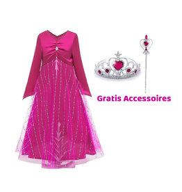 Frozen 2 Elsa roze jurk + gratis kroon + toverstaf