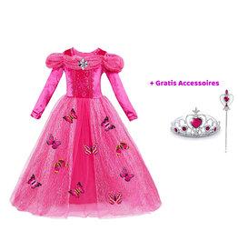 Het Betere Merk Prinsessenjurk - Roze Verkleedjurk - Vlinders
