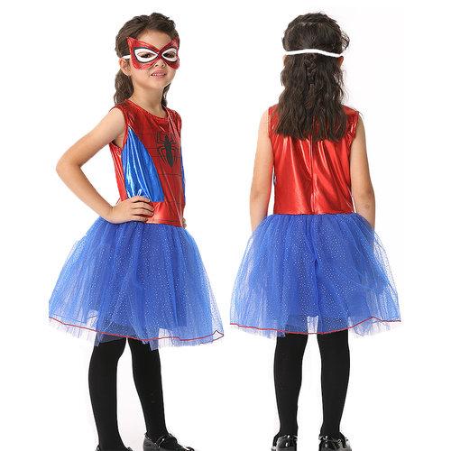 Het Betere Merk Spidergirl verkleedjurk + masker maat M, L, XL