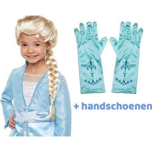 Frozen 2 Elsa Pruik met lange vlecht met elastisch haarnetje + gratis 1 paar handschoenen